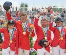 USA's Marilyn Little, Boyd Martin, Phillip Dutton and Lauren Kieffer celebrate team Jumping gold at the Pan-American Games in Caledon Park, Toronto, Canada today. Little also claimed the individual title. Photo by FEI/StockImageServices.com