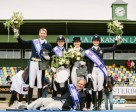 The Swedish team celebrating on the podium after victory in the FEI Nations Cup™ Dressage 2015 pilot series leg at Falsterbo, Sweden today: (L to R, standing) Patrik Kittel, Emilie Nyrerod, Tinne Vilmhelmson-Silfven and Minna Telde, with Chef d'Equipe, Bo Jenå, in front. Photo by FEI/Lotta Gyllensten