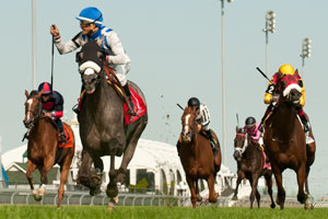 Eurico Da Silva guides Don't Leave Me to victory in the $150,000 Ontario Colleen Stakes at Woodbine. Photo by Michael Burns Photography