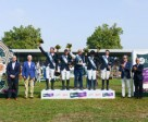 France won the penultimate leg of the Furusiyya FEI Nations Cup™ Jumping 2015 Europe Division 2 league at Gijon, Spain today. (L to R) Jaime de Rivera, Vice-President of the Spanish Equestrian Federation, Jesús Martinez Salvador, Gijón Town Council Sports Department President, team members Aymeric de Ponnat, Alexandre Fontanelle, Chef d'Equipe Philippe Guerdat, Adeline Hecart and Cyril Bouvard, Ramón Méndez Díaz, Coca-Cola Communications Department and Javier Revuelta, President of the Spanish NF (Furusiyya representative). Photo by FEI/Hervé Bonnaud