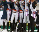 The Netherlands claimed the FEI European Dressage Championships 2015 team title at Aachen, Germany today. On the podium: Diederik van Silfhout, Patrick van der Meer, Edward Gal, Hans Peter Minderhoud and Chef d'Equipe Wim Ernes. Photo by FEI/Dirk Caremans