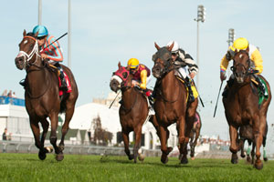 Alan Garcia guides Conquest Strate Up to victory in the $125,000 dollar La Prevoyante Stakes at Woodbine. Photo by Michael Burns Photography
