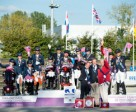 Great Britain (centre) scored team gold at the FEI European Para-Equestrian Dressage Championships 2015 in Deauville (FRA) today and were joined on the medal podium by the Netherlands in silver and Germany in bronze. Photo by Jon Stroud/FEI