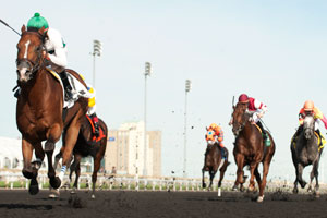 Robby Albarado guides Augustin Stable's Lucky Lindy to victory in the $150,000 Ontario Derby Stakes at Woodbine. Photo by Michael Burns Photography