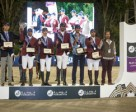 Team Qatar, winners of tonight's Longines Challenge Cup at the Furusiyya FEI Nations Cup™ Jumping Final 2015 in Barcelona, Spain: (L to R) Chef d'Equipe Willem Meeus, Ali Yousef Al Rumaihi, Khalid Mohammedd Al Emadi, Sheikh Ali Bin Khalid Al Thani, Hamad All Mohamed Al Attiyah and Bassem Hassan Mohammed. Photo by FEI/Dirk Caremans