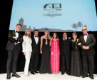 FEI Awards 2015 winners from left to right: Longines' Vice President and Head of International Marketing Juan-Carlos Capelli, Hollywood actress Bo Derek, Reem Acra Best Athlete Boyd Exell (AUS), Longines Rising Star Jessica Mendoza (GBR), Against All Odds Oriana Ricca Marmissolle (URU), Best Groom Jose Eduardo (Eddie) Garcia Luna (USA), FEI Solidarity Anne-Rose Schoen Les Chevaux qui pansent les plaies (Horses that heal wounds) (HAI) and FEI President Ingmar de Vos. Photo by FEI/Richard Juilliart