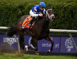Tepin, with Julien Leparoux aboard, won the $2 Million Breeders' Cup Mile during the Breeders' Cup World Thoroughbred Championships. Photo by Breeders' Cup/Gary Mook 2015