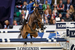 Germany's Christian Ahlmann and Taloubet Z won tonight's dramatic second leg of the Longines FEI World Cup™ Jumping 2016 Final in Gothenburg, Sweden. Photo by FEI/Dirk Caremans