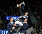 London 2012 Olympic champion Steve Guerdat of Switzerland is hosted aloft by runner-up Harrie Smolders (NED), left, and third-placed Daniel Deusser (GER), right after claiming victory in the Longines FEI World Cup™ Jumping Final in Gothenburg (SWE).