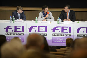 Olympic champion Steve Guerdat (SUI), centre, speaking on the panel during session three of the FEI Officials' appointment and remuneration at today's FEI Sports Forum in IMD, Lausanne, with Wayne Channon (GBR), rapporteur, and fellow panelist Cesar Hirsch (VEN). Photo by FEI/Richard Juilliart