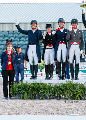 The Canadian Dressage Team rode to a Team Silver Medal in the CDIO 3* Stillpoint Farm Nations' Cup on March 31, held as part of the 12th and final week of the Adequan Global Dressage Festival in Wellington, FL. (L to R: Christine Peters, Jacqueline Brooks, Belinda Trussell, Megan Lane, Karen Pavicic.) Photo by Susan J. Stickle