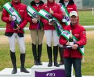 Germany, winners of the FEI Nations Cup™ Eventing at Houghton Hall (GBR) for the second year running (left to right): Peter Thomsen, Josefa Sommer, Bettina Hoy and Josephine Schnauffer, with their coach Christopher Bartle. Photo by Trevor Holt/FEI