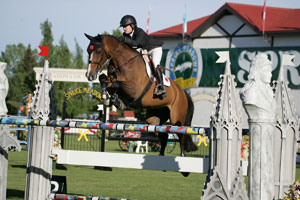 Kara Chad and Bellinda were second in the Scotiabank Cup 1.55m at the Spruce Meadows Continental. Photo by Spruce Meadows Media Services