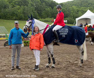 Colleen Loach and Qorry Blue D'Argouges - winners of the Canadian Championships, with Peter Gray and Bridget Colman. (Cealy Tetley photo)Colleen Loach and Qorry Blue D'Argouges - winners of the Canadian Championships, with Peter Gray and Bridget Colman. Photo by Cealy Tetley