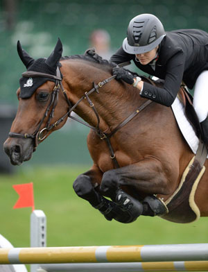 Tiffany Foster and Brighton won the Sun Life Financial 'Reach for the Sun' 1.50m at Spruce Meadows. Photo by Spruce Meadows Media Services