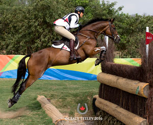 Rebecca Howard from Marlborough, GBR and Riddle Master made a remarkable leap up the individual eventing standings at the Rio 2016 Olympic Games after completing the challenging cross-country course with no added jumping penalties on Aug. 8. Photo by Cealy Tetley