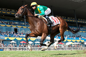 n Garcia guides Shake Down Baby to capture the $125,000 La Prevoyante Stakes at Woodbine. Photo by Michael Burns Photography