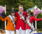On the medal podium at the FEI European Jumping Championship for Young Riders 2016 at Millstreet (IRL) : (L to R) The Netherlands' Lisa Nooren (silver), Germany's Guido Klatte (gold) and Switzerland's Vladya Reverdin (bronze). Photo by FEI/Alexis Vasilopoulos