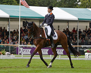 Christopher Burton (AUS) and Nobilis 18 perform a superb Dressage test , scoring 30.2 to take a 4.3 penalty lead after Dressage at the Land Rover Burghley Horse Trials, final leg of the FEI Classics™ 2015/2016. Photo by Trevor Meeks/FEI