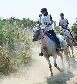 Paula Muntala Sanchez (ESP), aged 21, riding 10-year old part-Arabian Echo Falls secured individual gold and also guided her team to gold at the 120km FEI European Endurance Championship for Young Riders and Juniors in Rio Frio, Portugal on September 3rd. Photo by FEI/Endurance in the World