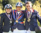 An abundance of medals! On the Young Riders podium at the FEI European Eventing Championships for Juniors and Young Riders 2016 in Montelibretti (ITA) yesterday: (L to R) individual silver medallist Hella Meise (GER), individual and team gold medallist Marie Charlotte Fuss (FRA) and individual bronze and team gold medallist Alexis Goury (FRA). Photo by Massimo Argenziano/FEI