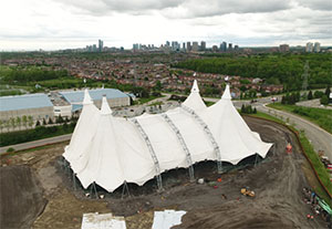 Cavalia's White Big Top went up in Mississauga on May 25th ahead of Odysseo's June 21st opening.