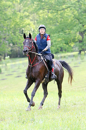 Wendy MacCoubrey of Ste. Justine de Newton, QC was the top-ranked Canadian in the CEI 2* 120 km at the CEI Biltmore Challenge in Asheville, NC, riding her homebred mare Black Bart's Lolita to a third place finish. Photo by Becky Siler Pearman