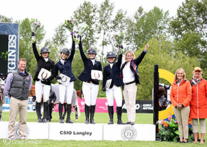 The Maple Leafs team of athletes, Megan Champoux of Aldergrove, BC, Mary Jones of Vancouver, BC, Jenna Lee Gottschlich of Edmonton, AB, Cassie Gorsline of Okotoks, AB and Chef d'Équipe Beth Underhill, earned their spot at the top of the podium in the CSIJ-A Team Event, held June 3, 2017 during the CSIO 4* Odlum Brown BC Open in Langley, BC. Photo by Grayt Designs