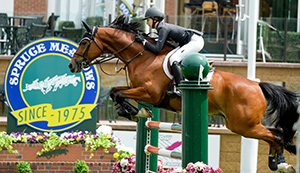 Lucy Deslauriers and Hester and won the ATCO Challenge at the Spruce Meadows National. Photo by Spruce Meadows Media Services