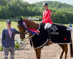 Jessica Phoenix and Bogue Sound being presented with the CCI3* Canadian Championship by Dr. Rob Stevenson, Canadian Eventing High Performance Chair at Equestrian Canada during the 2017 PEDIGREE Bromont CCI Three Day Event, The Todd Sandler Challenge at the Bromont Olympic Equestrian Park in Bromont, Quebec. Photo: Cealy Tetley