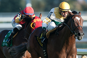 Jockey Eurico Da Silva guides Chiefswood Stable's Tiz a Slam to victory in the 80th running of the $250,000 Cup & Saucer Stakes. Photo by Michael Burns