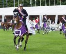 Lorenzo de Luca leads Team Italy on their victory gallop after his country's second victory in a row at the FEI Nations Cup™ Jumping 2017 Europe Division 1 qualifier in St Gallen, Switzerland. Photo by FEI/Richard Juilliart