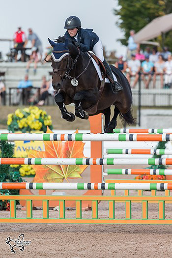 Ali Ramsay of Victoria, BC, won the $86,000 CSI2* Grand Prix, riding Hermelien VD Hooghoeve at the CSI2* Canadian Show Jumping Tournament. Photo by Ben Radvanyi Photography