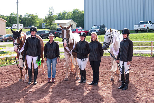 Diane Ferris riding Jorrock's Delilah, Dressage Coach Donna McInnis, Amelie Duguay riding Denali, NBEA President Deanna Phelan, Julie Blanchard riding Fantasia - also the Individual Bronze medalist for this division. Photo by Ceci Flanagan-Snow, Images by Ceci