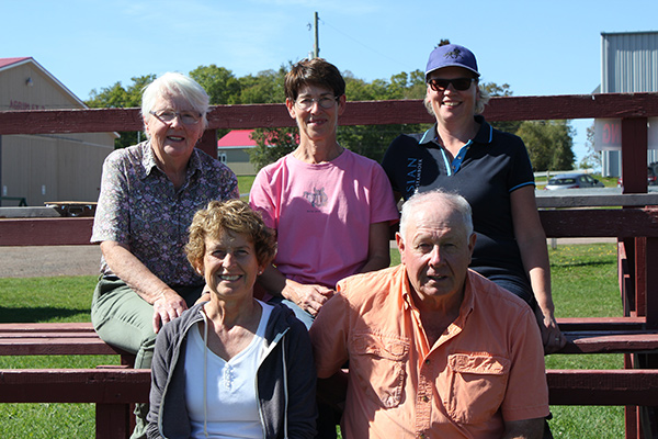 The Dressage Prince Edward Island team has been awarded the Dressage Volunteer of the Month title for September 2017 in recognition of their dedication to supporting the sport of dressage in the Martimes. Clockwise from top left: Teresa Mellish, Florine Proud, Anna Osinga Bouma, Ken Mellish, Virginia Cooke. Photo courtesy of Teresa Mellish