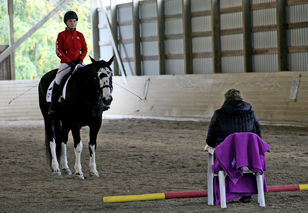 Kim Scott from Victoria, B.C. receives feedback on her performance of the new FEI Para-Dressage test from FEI 5* Judge, Kristi Wysocki. Photo courtesy of Equestrian Canada