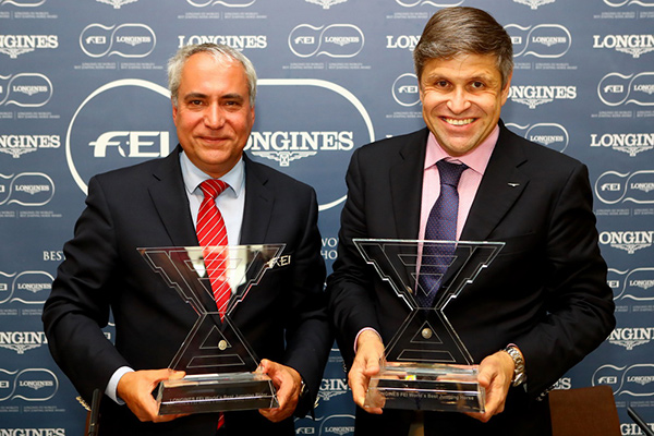 FEI President Ingmar de Vos and Mr Juan-Carlos Capelli, Vice President of Longines and Head of International Marketing celebrate today's announcement of the first ever Best Jumping Rider & Best Horse Awards at a press conference in Barcelona (ESP). Photo by Longines/Pierre Costabadie