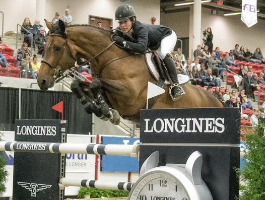 Isabelle Lapierre with her horse Cescha M takes a second win for the season in Calgary on Saturday 28 October at the Longines FEI World Cup™ Jumping North American League. Photo by FEI/Amanda Ubell