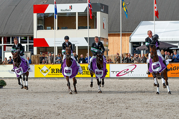 Team Germany take the 2017 FEI Nations Cup™ Eventing series title, finishing in style taking second place at the final leg in Boekelo (NED) with the team pictured here (L-R) of Felix Etzel, Anna Siemer, Andreas Dibowski and Jörg Kurbel. Photo by Dirk Caremans/FEI