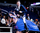 Beat Mändli (SUI) and his mount Dsarie celebrate victory at the Longines FEI World Cup™ Jumping in Washington. Photo by FEI/Ashley Neuhof