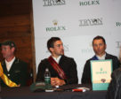Give that man another watch: Kent Farrington won the feature $380,000 Rolex Grand Prix during Saturday Night Lights on Oct. 21st. Mexico's Eugenio Garza (centre) was second and Richie Maloney of Ireland was third. Regular TIEC sponsor Rolex has graciously agreed to step back for a couple of weeks during WEG while Longines takes over.