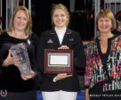 Andy and Carlene Ziegler of Artisan Farms LLC were named the recipients of the 2017 JC Owner of the Year Award for providing world-class horses to the Canadian Show Jumping Team. Tiffany Foster accepted the award from Equestrian Canada (EC) Manager of Sport – Jumping Department, Karen Hendry-Ouellette and EC Jumping Committee Chair, Pam Law on Nov. 8, 2017 at the Royal Horse Show in Toronto, ON. L to R: Karen Hendry-Ouellette, Tiffany Foster, Pam Law. Photo by © Cealy Tetley - www.tetleyphoto.com