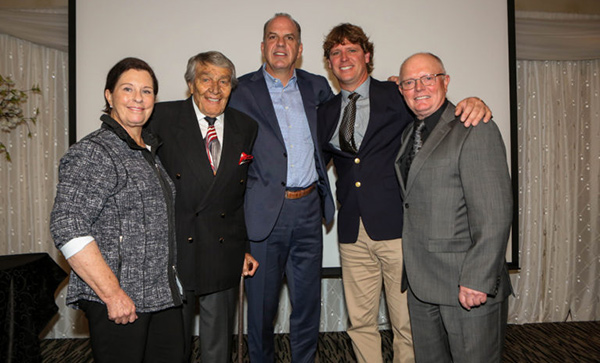 Cindy Neale-Ishoy with her fellow 2017 Hamilton Sports Hall of Fame inductees. From left to right: Cindy Neale-Ishoy; co-founder and owner of Flamboro Downs racetrack, Charles Juravinski; ex-NHL defenseman, Ric Nattress; wakeboarder Jeremy Kovak; and figure skater Don Knight. Photo courtesy of The Hamilton Spectator