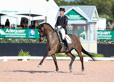 Jaimey Irwin's extensive competition experience enables him to better understand what his students are thinking and feeling. He and Donegal V are pictured here making their mark on the leaderboard at the 2017 Adequan Global Dressage Festival (AGDF) in Wellington, FL. Photo by Susan J. Stickle