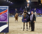 The Netherlands' Harrie Smolders and Zinius pictured with FEI president Ingmar de Vos after winning the ninth leg of the Longines FEI World Cup™ Jumping 2017/2018 Western European League at Mechelen (BEL).
