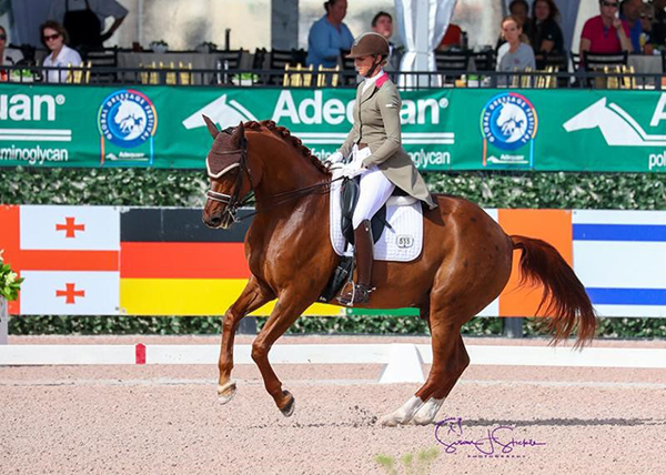 Heather Blitz's Praestemarkens Quatero impresses to finish the week with his third win, in the Intermediate I Freestyle with 73.6%. Photo ©SusanJStickle