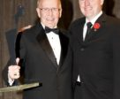"""Gordon """"Tom"""" Michiel, pictured with EC Director of Sport, Jon Garner (right) was inducted into the Jump Canada Hall of Fame in 2010. He passed away at the age of 87 on Jan. 22, 2018."""