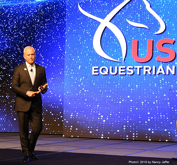 USEF President Murray Kessler presents the organization's achievements in 2017 for the membership at the annual convention. (Photo© 2018 by Nancy Jaffer)