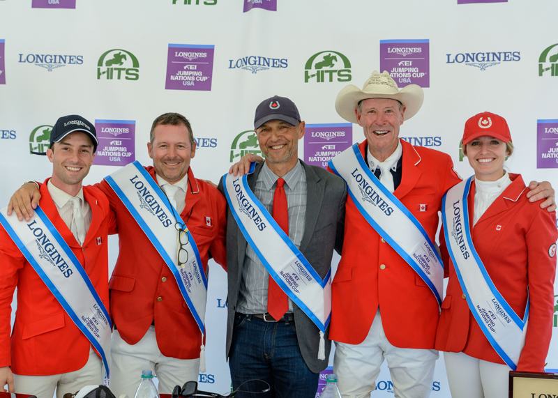 The victorious Canadian Show Jumping Team. From left to right: François Lamontagne, Eric Lamaze, chef d'equipe Mark Laskin, Ian Millar, and Tiffany Foster.