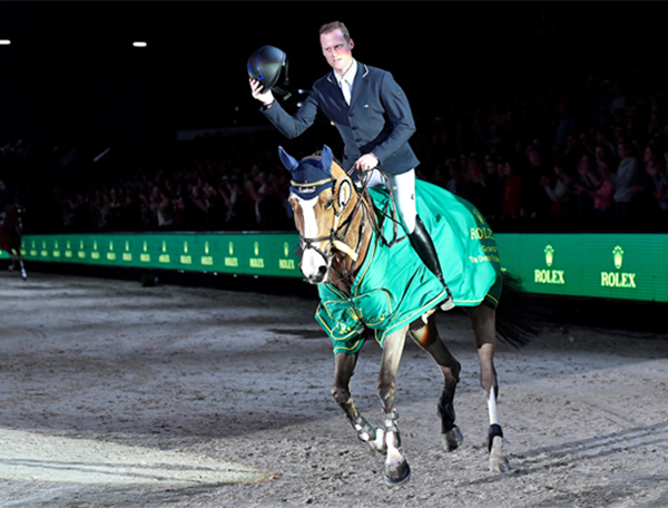 Niels Bruynseels of Belgium won the Rolex Grand Prix at the Dutch Masters in Den Bosch, Netherlands aboard Gancia de Muze. Photo by Ashley Neuhof